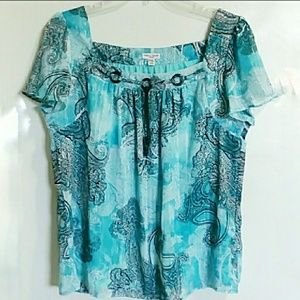 Rebecca Malone aqua top, flutter sleeves, XL P